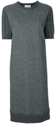 Thom Browne Wool Flannel Cable Knit Sweater Dress