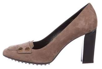 Tod's Suede Square-Toe Pumps