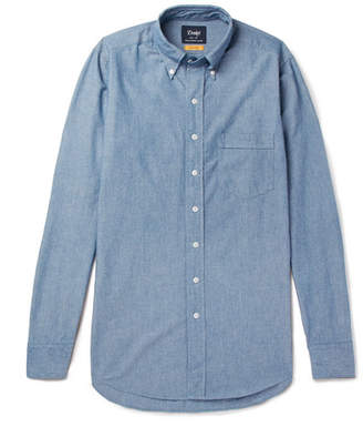 Drakes Drake's Easyday Slim-Fit Button-Down Collar Cotton-Chambray Shirt