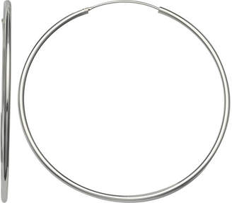 SILVER REFLECTIONS Silver Reflections Silver Plated 55mm Polished Endless Pure Silver Over Brass 55mm Round Hoop Earrings