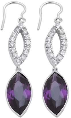 Burgmeister Jewelry Women's Earrings Rhodium-Plated 925 Sterling Silver Purple Cubic Zirconia JHE1007 Pump
