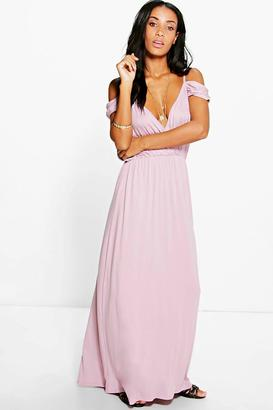 boohoo Grace Cold Shoulder Rouched Maxi Dress $28 thestylecure.com