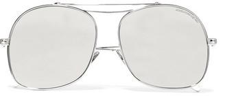Aviator-style Silver-tone Mirrored Sunglasses - one size
