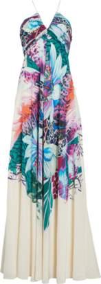 Roberto Cavalli Exotic Flora Print Silk Gown