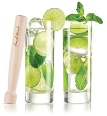 Final Touch 3-Piece Mojito Glass and Wood Muddler Set