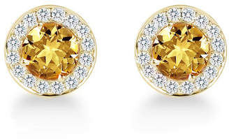 Carrington 18ct Yellow Gold 1.30cttw Citrine and 0.30cttw Diamond Stud Earrings