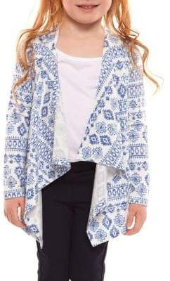 Dex Little Girl's Aztec Print Open Cardigan