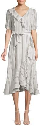 Calvin Klein Striped Ruffle Wrap Dress