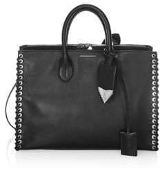 Calvin Klein Whip Stitch Leather Satchel