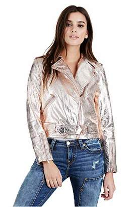 True Religion Women's Metallic Leather Moto Jacket