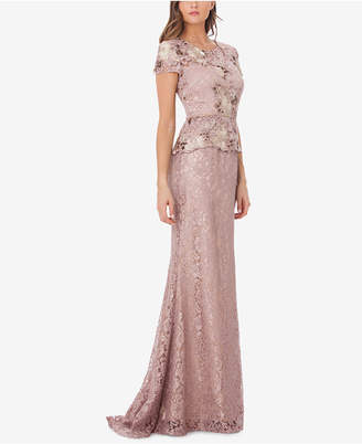 JS Collections Lace Peplum Gown
