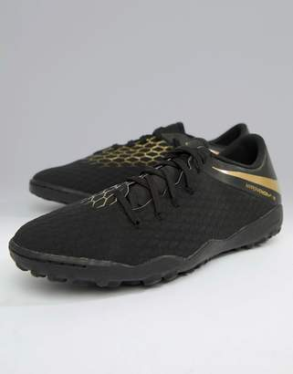Nike Football Hypervenom Phantomx 3 Astro Turf Sneakers In Black AJ3815-090
