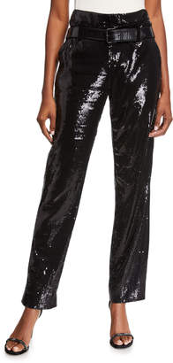 RtA Dillon Sequined High-Waist Trousers with Belt