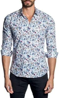 Jared Lang Floral Woven Button-Down Shirt