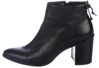 Stuart Weitzman Lofty Pointed-Toe Leather Ankle Boots
