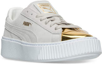 Puma Women's Suede Platform Gold Casual Sneakers from Finish Line $99.99 thestylecure.com