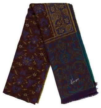 Kenzo Printed Wool Scarf Blue Printed Wool Scarf