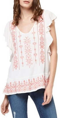 Women's Sanctuary Ava Embroidered Flutter Sleeve Top $99 thestylecure.com