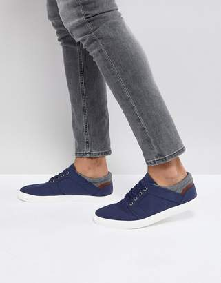 Asos DESIGN Lace Up Sneakers In Navy Faux Suede With Warm Handle Cuff