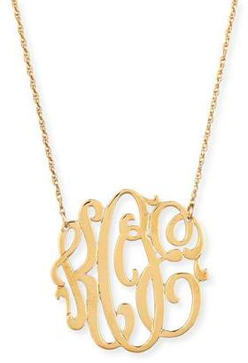 Jennifer Zeuner Jewelry 18k Gold Vermeil Medium 3-Letter Monogram Necklace