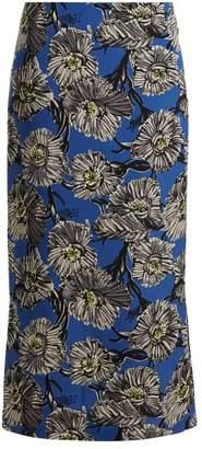 Raey Giant Floral Print Silk Pencil Skirt - Womens - Blue Multi