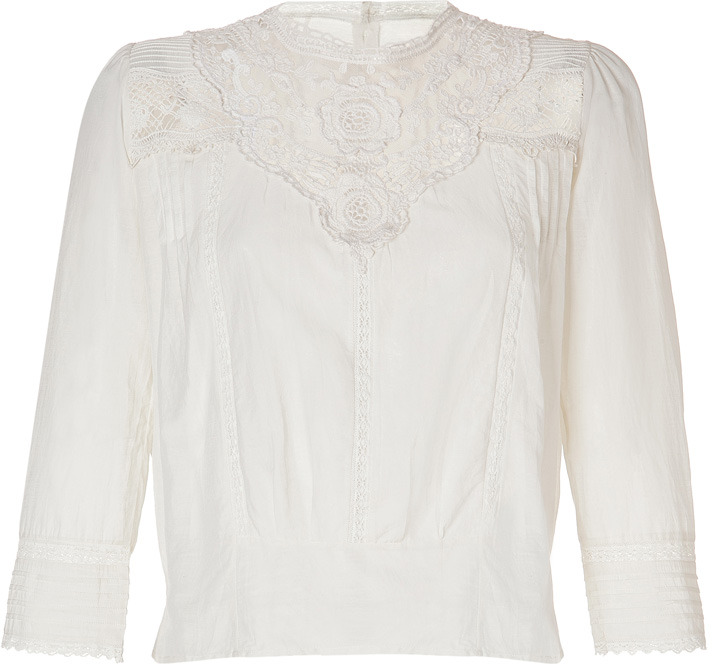 Maje Top with Lace Inlays in Ecru