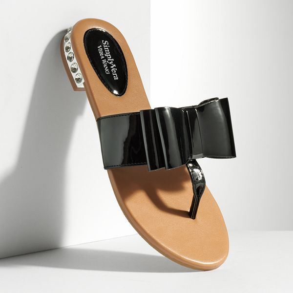 Vera Wang Simply vera bow and rhinestone heel flip-flops