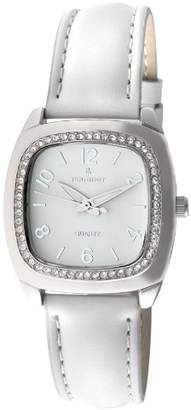 Peugeot Women's 304WT Silver-Tone Swarovski Crystal Accented White Leather Strap Watch