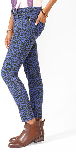 Forever 21 Safari Print Denim Skinnies