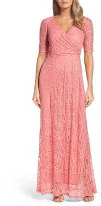 Women's Ellen Tracy Lace Faux Wrap Gown $198 thestylecure.com