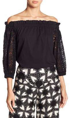 Anna Sui Off-the-Shoulder Morning Glory Lace Blouse