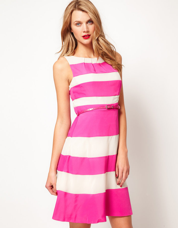 Coast Stripe Fit And Flare With Belt