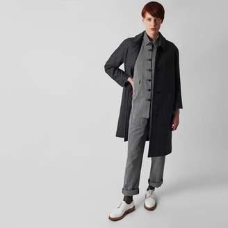 Kate Sheridan Grey Herringbone Wool Louis Coat - M/L - Grey
