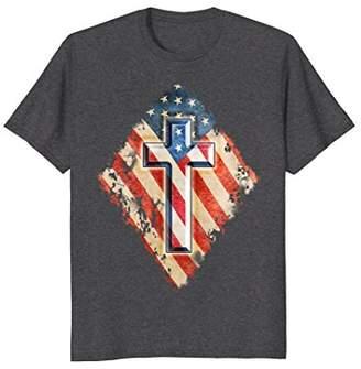 Christian Cross Patriotic American Flag Destroyed Look Shirt