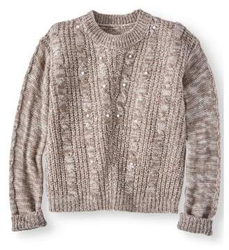 Pink Angel Pearl Cable Pullover Sweater (Little Girls & Big Girls)