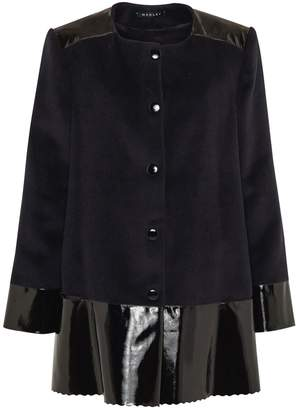 Manley - Sadie Cashmere Wool & Leather Coat Black