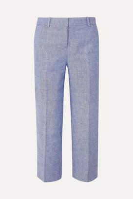 J.Crew Peyton Cropped Linen-blend Straight-leg Pants - Indigo