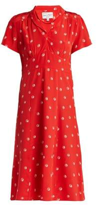 Morgan Hvn Dice Print Silk Midi Dress - Womens - Red Print