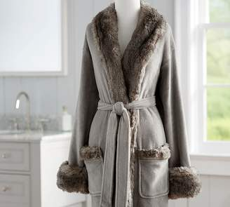 Pottery Barn Faux Fur Robe Without Hood - Gray/Chinchilla