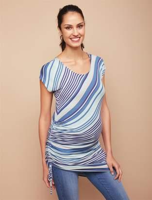 Jessica Simpson Motherhood Maternity Side Tie Maternity Top- Blue Stripe