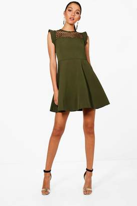 boohoo Crochet Lace Top Structured Skater Dress