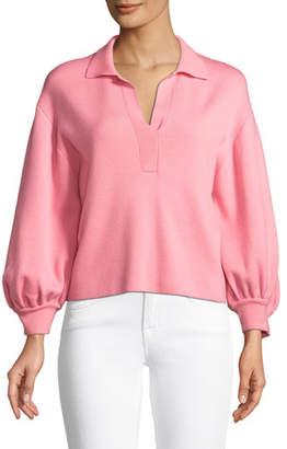 Tibi Merino Wool Blouson-Sleeve Polo Top