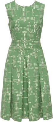 Bottega Veneta Pleated Printed Wool-Crepe Midi Dress