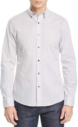 Michael Kors Bobbi Micro Square-Print Stretch Classic Fit Button-Down Shirt