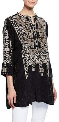 Johnny Was Jadein Split-Neck 3/4-Sleeve Printed Blouse w/ Embroidery