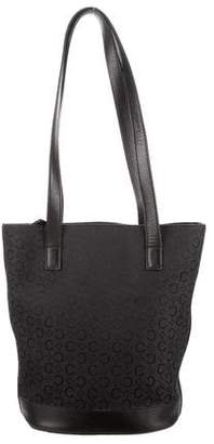 Celine Leather-Trimmed Bucket Tote