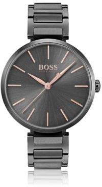 BOSS Anthracite-plated watch with rose-gold details