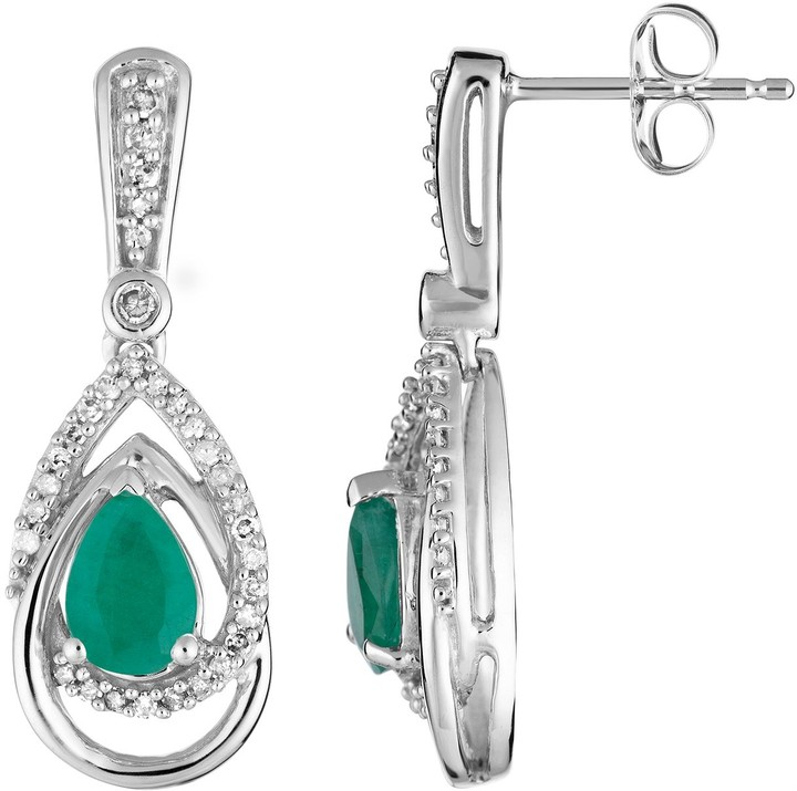 10k White Gold Emerald & 1/4 Carat T.W. Diamond Drop Earrings