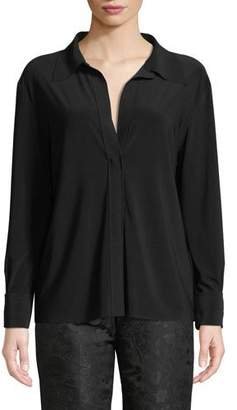 Norma Kamali NK V-Neck Long-Sleeve Shirt