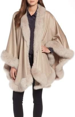 Sofia Cashmere Genuine Fox Fur Trim Cashmere Cape